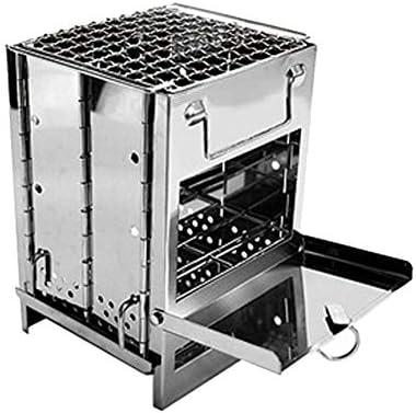 Abracing Mini Barbecue carré Pliant de Gril de BBQ d'acier Inoxydable de Fourneau de Charbon de Bois pour extérieur
