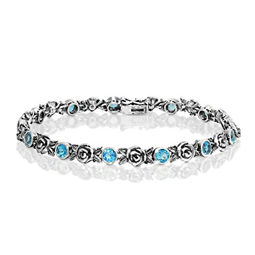 - Paz Creations 925 Sterling Silver Gemstone and Rose Tennis Bracelet (7.25, Blue-Topaz)