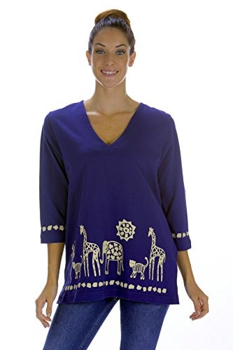 M.Mac's Safari Border V Neck 3/4 Length Sleeve Tunic-Navy with Tan Print-2X (Print Tunic Border Top)