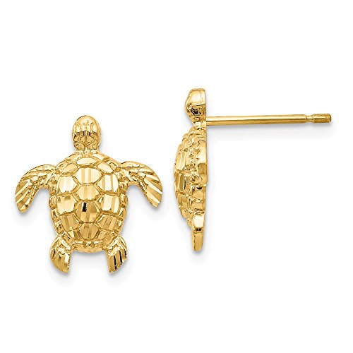 Mia Diamonds 14k Solid Yellow Gold Gold Polished and Textured Sea Turtles Post Earrings (14mm x 13mm) ()