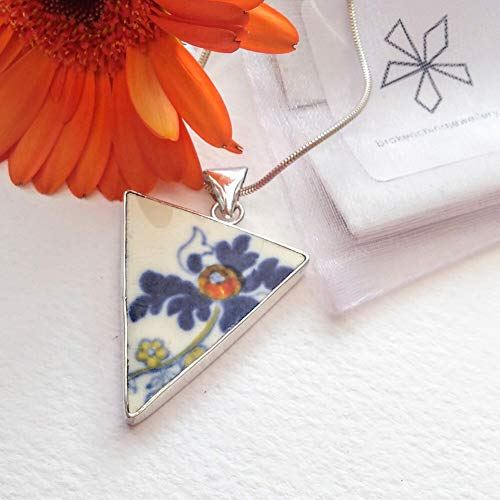 Statement Pendant, Handmade Sterling Silver Necklace with Coalport Vintage China, Broken China Jewelry, Broken China Necklace