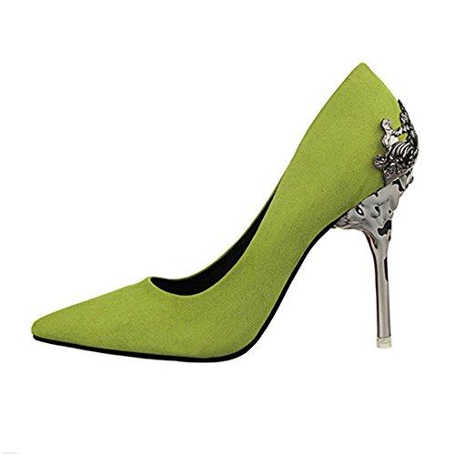 Manyis Femmes Nouveau Point-toe Pompes Nuptiale Plate-forme Métal Sculpture Haut Talon Chaussures Vert