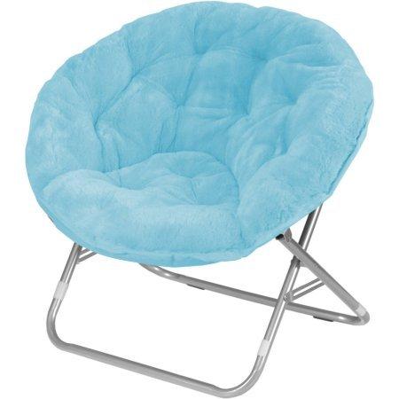 Adult Soft Saucer Faux Fur Folding Chair in Aqua