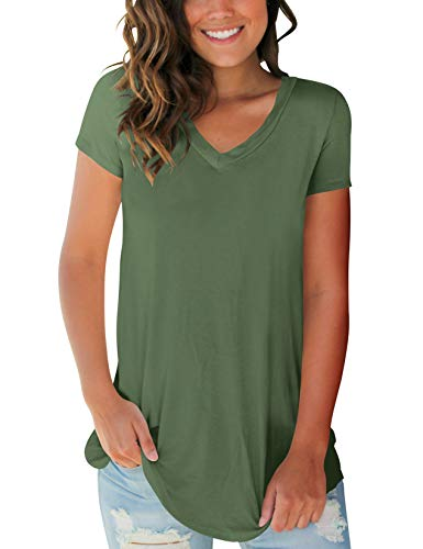SMALOVY Womens Casual Short Sleeve Solid Tees Shirts Lightweight Cotton Plus Size Army Green XXL