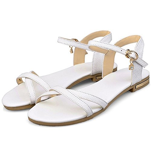 COOLCEPT Mujer Moda Correa de Tobillo Sandalias Punta Abierta Slingback Plano Zapatos Blanco