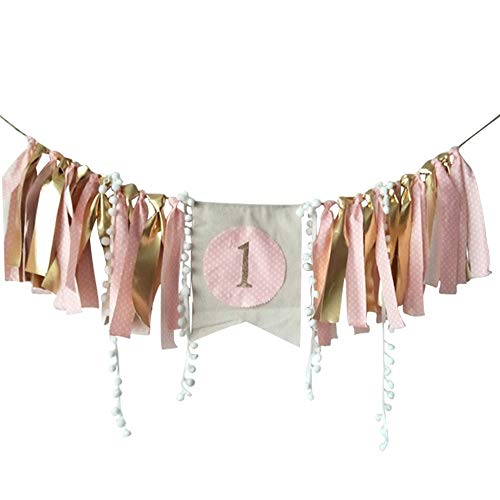 Baby Birthday Decoration - 1st Birthday Baby High Chair Banner Chair Tutu Skirt Decoration for Birthday Party Supplies (Gold&Pink B)