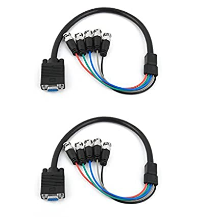 eDealMax Enchufe hembra VGA a 5 2pcs BNC Macho Cable conector del adaptador del Cable Negro