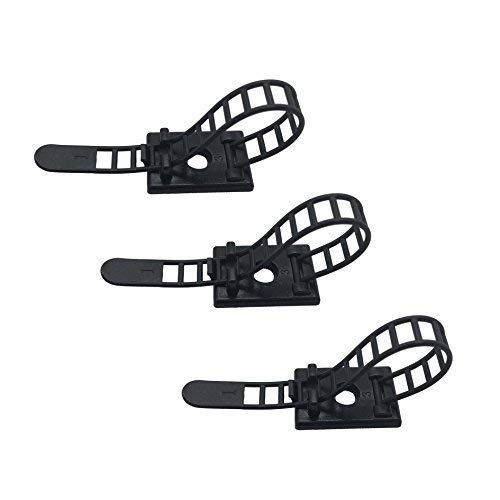 50pcs Cable Clips the Adhesive Cable Ties, Adjustable Nylon Cable Zip Ties and Adhesive Cable Clips with Optional Screw Mount for Cord Management (Black) (Adhesive Backed Cable Clips)