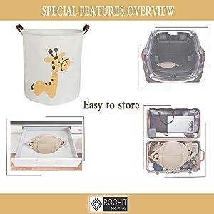 BOOHIT Storage Baskets,Canvas Fabric Laundry Hamper-Collapsible Storage Bin with Handles,Toy Organizer Bin for Kid's Room,Office,Nursery Hamper, Home Decor (Giraffe)