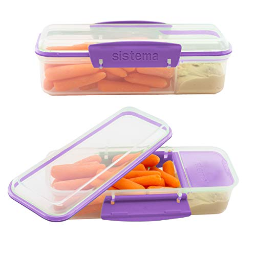 Sistema Snack Attack To Go 410ml / 13.86oz Two compartments Lunch Box Container, Blue, 2-Pack