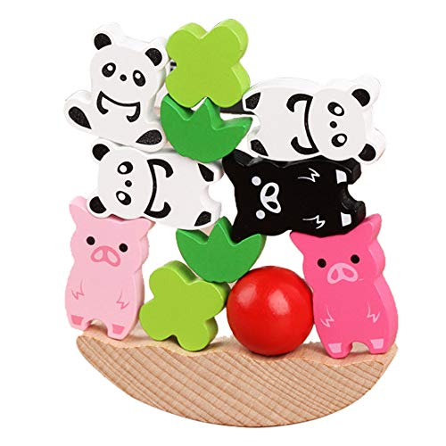 Jinjin Wooden Balance Game Animal Stacking Blocks Baby Toddler for Kids (Multicolor)