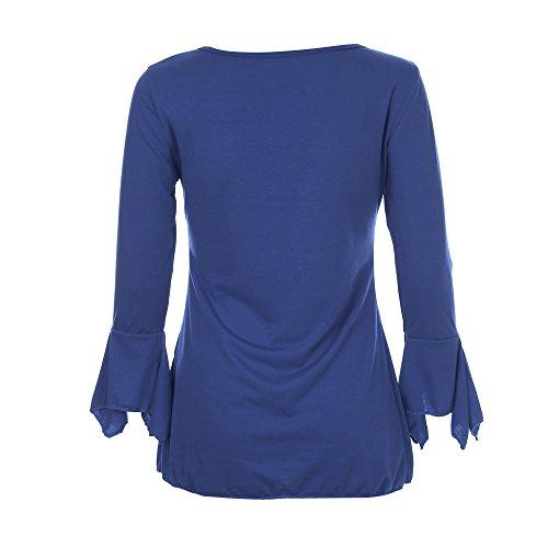 Femme Guesspower 3 Femmes Haut Top Blouse Classique Lache T Bleu Chemisier Manches Mode Manches Chemisier Chic Shirt Tops Longues Casual 4 CC4r5