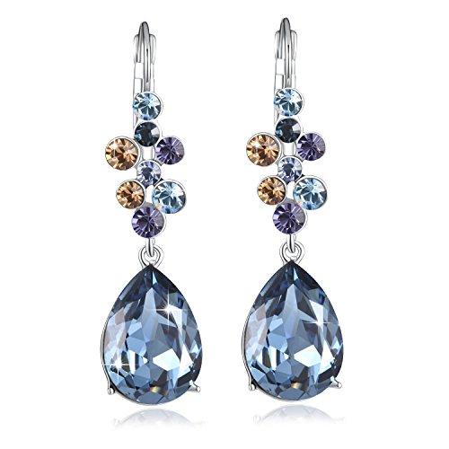 Ocean Blue Earring PLATO H Tear Drop Earring Hook Dangle Earrings The Heart Of Ocean Blue Crystal Earrings with Swarovski Crystals Mother's Day Gifts (Blue Sapphire Earrings Swarovski)