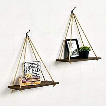 RHF Rustic 17 Inch Wood Hanging Swing Rope Shelves Floating Shelves Wall Hanging Shelf Closet Hanging Rack Distressed Wood Jute Rope Floating Shelves (Brown, 2 Pack)