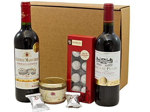 Geschenkset französischer Genuss   2 x französischer Rotwein (Bordeaux) trocken   Trüffel Marc de Champagne…