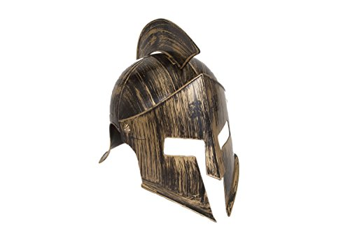 Spartan Costume Helmet (Jacobson Hat Company Men's Medieval Iron Knight Helmet, Gold, Adult)
