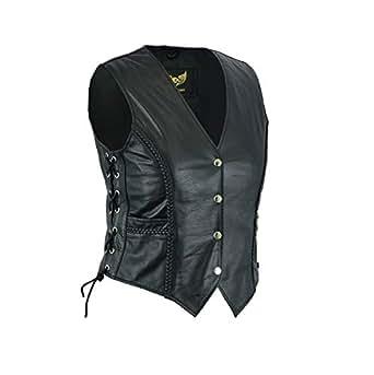 Ladies Real Cowhide Braided Biker Leather Waistcoat Black (2XL)