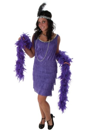 Plus Size Purple Fringe Flapper Dress 3X