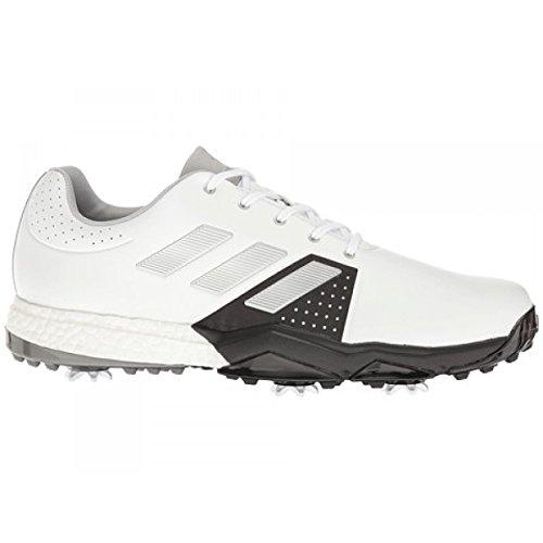 adidas Adipower Boost 28 Calzado de horma ancha para Hombre, Blanco / Negro / Plata, 45.3