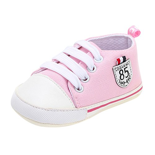 Tantisy ♣↭♣ Unisex Canvas Crib Shoes Newborn Infant First Walker Shoes Casual High Top Sneaker for Little Boys/Girls/Toddler Pink ()