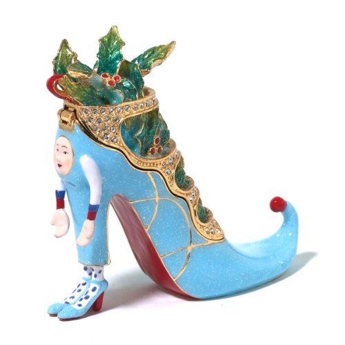 Patience Brewster Christmas Krinkles Blue Shoe Jeweled Box Retired - Ornaments