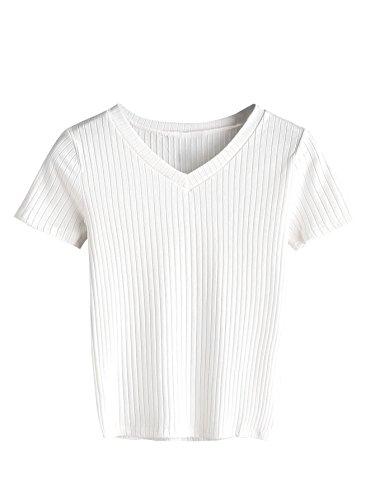 Ribbed Short Sleeve Sweater (SweatyRocks Women's High Neck Knit Ribbed Crop Tops Basic Short Sleeve Sweater (Medium, White#04))