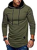 Mens Pullover Hoodie Solid Pleat Hem Curved Long Fleece Sweatshirt