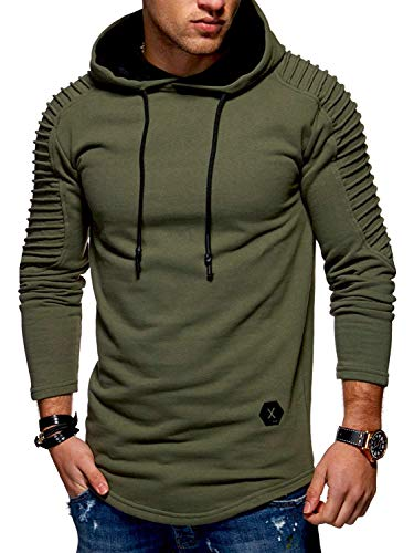 Mens Pullover Hoodie Solid Pleat Hem Curved Long Fleece Sweatshirt by KENANCY