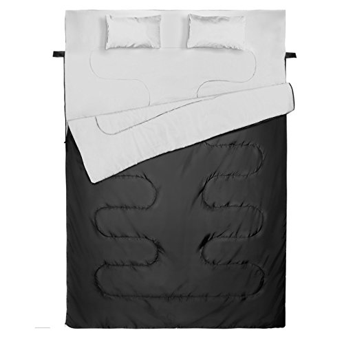 Ohuhu Double Sleeping Bag With 2 Pillows And Carrying Bag made our list of camping gifts couples will love and great gifts for couples who camp