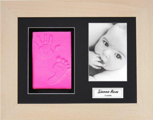 BabyRice Baby Girl Handprint Footprint Kit Soft Pink Clay Dough Real Beech Box Frame