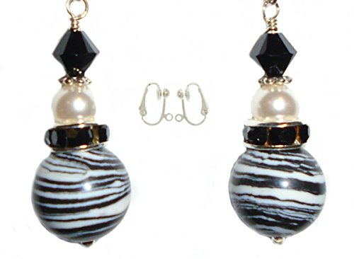 Black & White Striped Turkey Turquoise, Swarovski bicone & Pearl Bead Earring Set (4. CLIP-ONS Silver Plated (Half Ball)