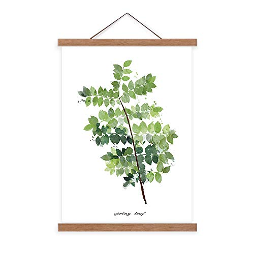 Canvas Prints Scroll Poster Wall Decorations Artwork Green Leaves Plant Wall Art 24x36 Simple Life Minimalist Tropical Botanical Picture with Teak Wood Hanger for Living Room - Botanical Wood