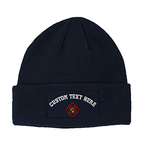 Custom Text Embroidered Maltese Cross Firefighter Unisex Adult Acrylic Double Layer Patch Beanie Skully Hat - Navy, One Size