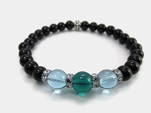 (Black Onyx Gemstone Stretch Bracelet with Green and Blue Swarovski Crystal Globes)
