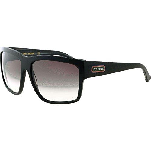 Shiny Black Womens Sunglasses (Black Flys Free Flying Square Sunglasses,Shiny Black,61 mm)