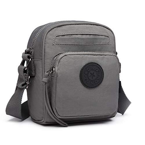 Functional and Compact Nylon bag Crossbody Kono Handbag Shoulder bag Grey Fashionable Saddle Messenger 1cAYx0