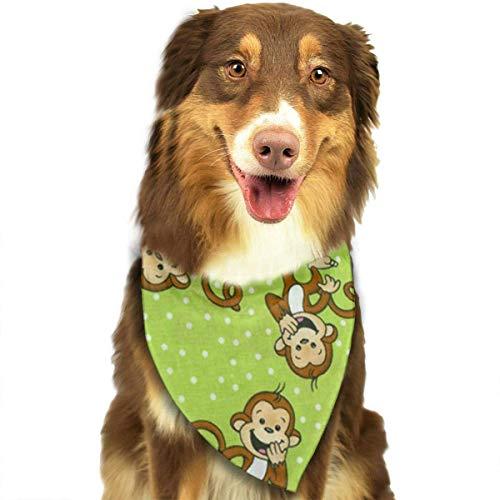 DMFS Dog Bandana Christmas Costume Pet Green Clever Monkey Scarf Cat Bandana for Christmas -