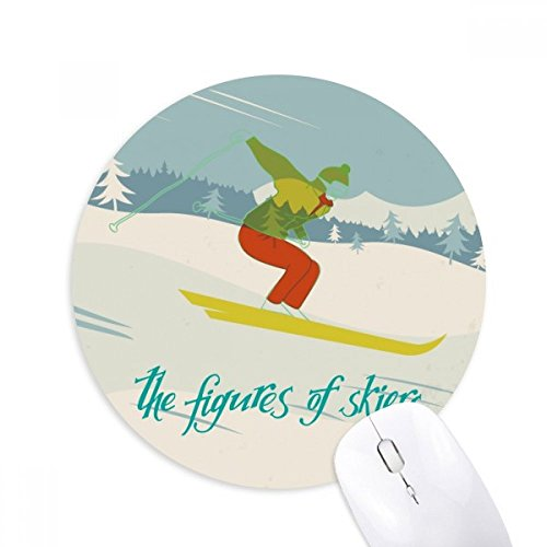 Skis Skiboards (Ski Board Skiing Winter Sport Illustration Round Non-Slip Rubber Mousepad Game Office Mouse Pad Gift)
