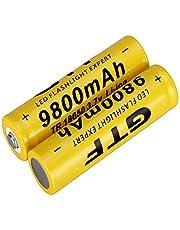 2 STKS 18650 Batterij 3.7 V 9800 mAh Capaciteit Li-ion Batterij voor Zaklamp met 18650 Batterij Opbergdoos