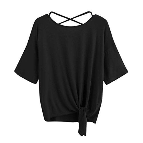Women's T Shirt,Summer ANJUNIE Solid Crisscross Back Knot Half Sleeve Blouse (Black,M) -