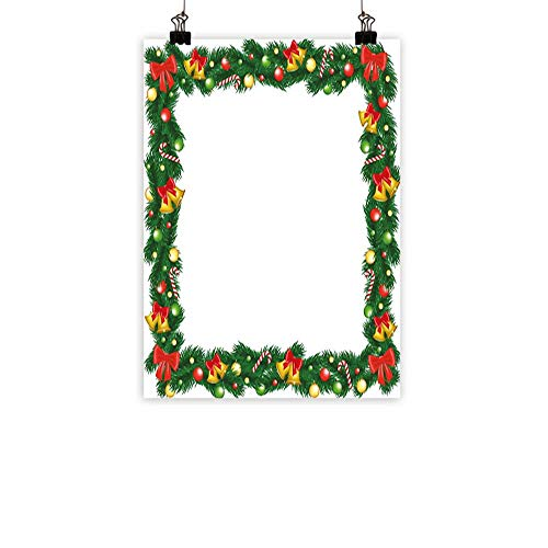(New Year Modern Frameless Painting Xmas Themed Garland with Candy Canes Ribbons Colorful Baubles and Bells Winter Bedroom Bedside paintingMulticolor 20