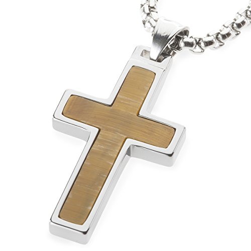 Unique GESTALT Tiger Eye Stone Inlay Tungsten Cross Pendant. 4mm wide Surgical Stainless Steel Box Chain. 22 Inch ()