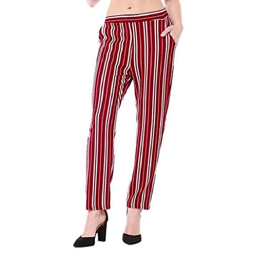 Eleganti Righe a Taglie Forti Pantaloni Larghi Donna Zhrui Casual Rosso qROP7R