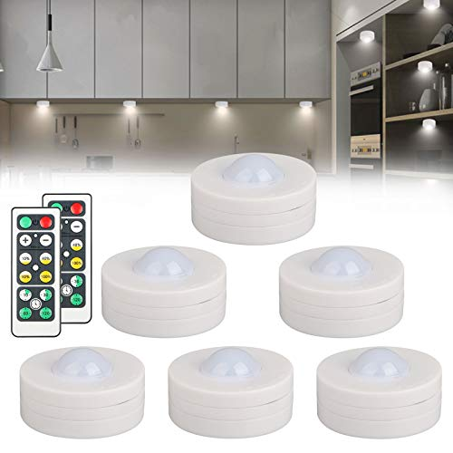 Linkstyle 6 Pack Wireless LED Puck Lights, Kitchen Under Cabinet Lighting with 2 Remote Control, Battery Powered Stick-on Under Counter Lights Dimmable Closet Light-Natural White(Battery Not Included)