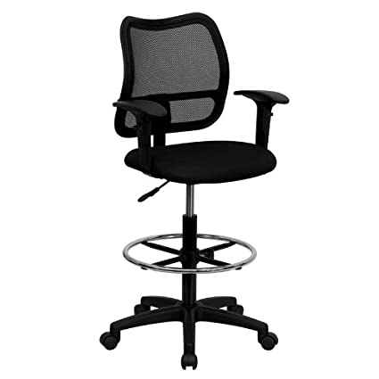 Superbe Flash Furniture Mid Back Black Mesh Drafting Chair With Adjustable Arms