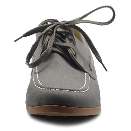Ollio Femmes Faux Cuir Lacets Chaussures Bateau Glisser Sur Mocassins Gris