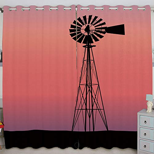 (Justin Harve window Windmill Silhouette at Dreamlike Sunset Western Ranch Agriculture Printed Curtain Set of 2 Panels(84
