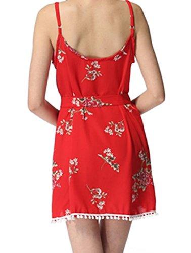 Coolred-femmes Frange V-cou Écharpe Imprimé Floral Sexy Taille Smockée Confortable Plage Mini Robe Rouge