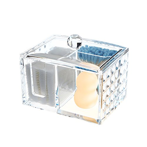 Ouyatong Upgraded Clear Acrylic Makeup Cotton Pads Organizer,Cotton Ball and Cotton Swabs Holder with lid for Bathroom and Bedroom,3 Storage Compartments (Small)
