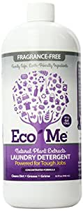 Eco-Me Natural Concentrated Liquid Laundry Detergent, Fragrance Free, 32 Ounce